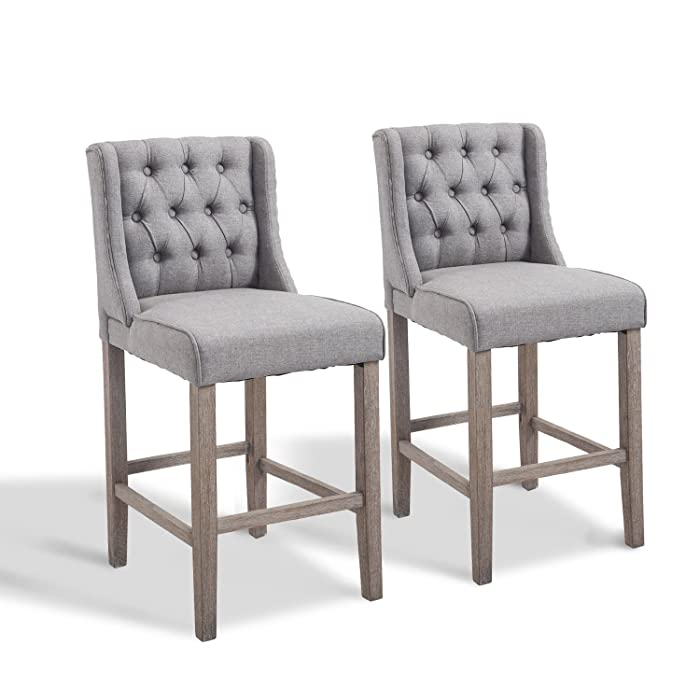 "HomCom 40"" Tufted Wingback Counter Height Armless Bar Stool Dining Chair Set of 2 - Grey"
