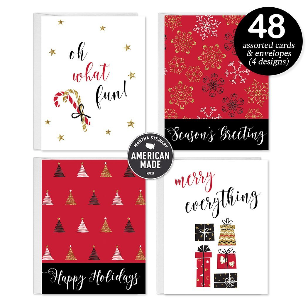 48 Festive Christmas Greeting Cards 4 Assorted Lovely Seasonal Designs Envelopes Included Seasons Greetings To Family Friends Neighbors