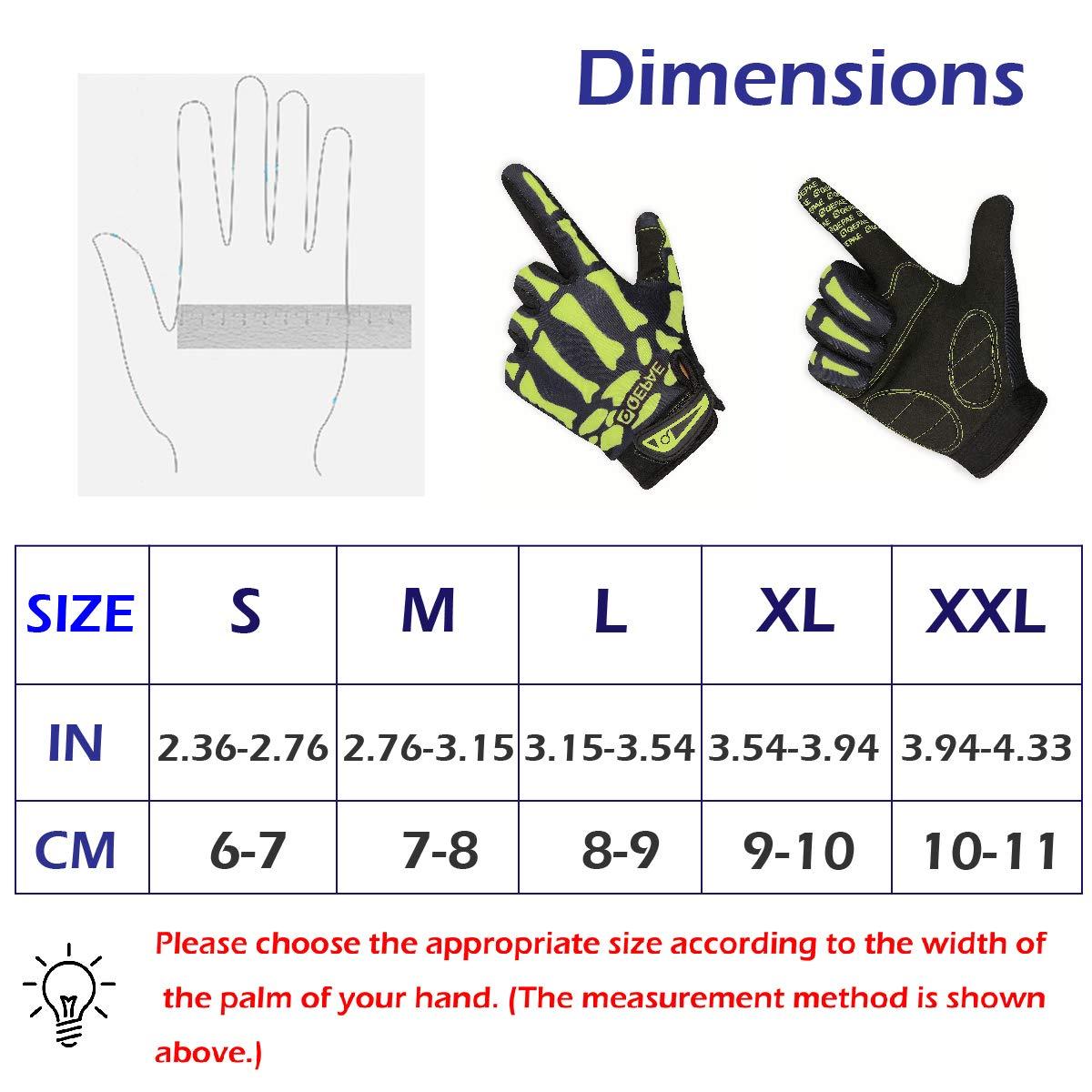 TRIWONDER Cycling Gloves for Men Women Skeleton Gloves Halloween Costume Skull Bike Gloves for Riding Racing Motorcycle