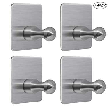 Soclim Adhesive Wall Hooks Bathroom Towel Hooks Exclusive Round Head Safe Design Stainless Steel Wall Stick Hanger for Hanging Towel Robe Keys Stick on Wall Hangers Kitchen Bathroom Organizer - 4 Pack