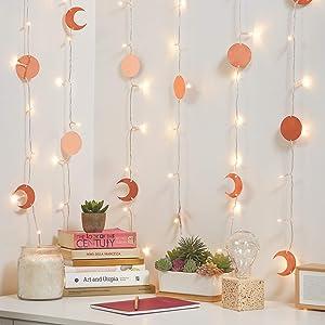 Merkury Innovations Cascading LED Window Curtain String Lights w 24 Metallic Celestial Shapes Wedding Party Home Garden Bedroom Outdoor Indoor Wall Decorations, Metallic Celestial-Warm White