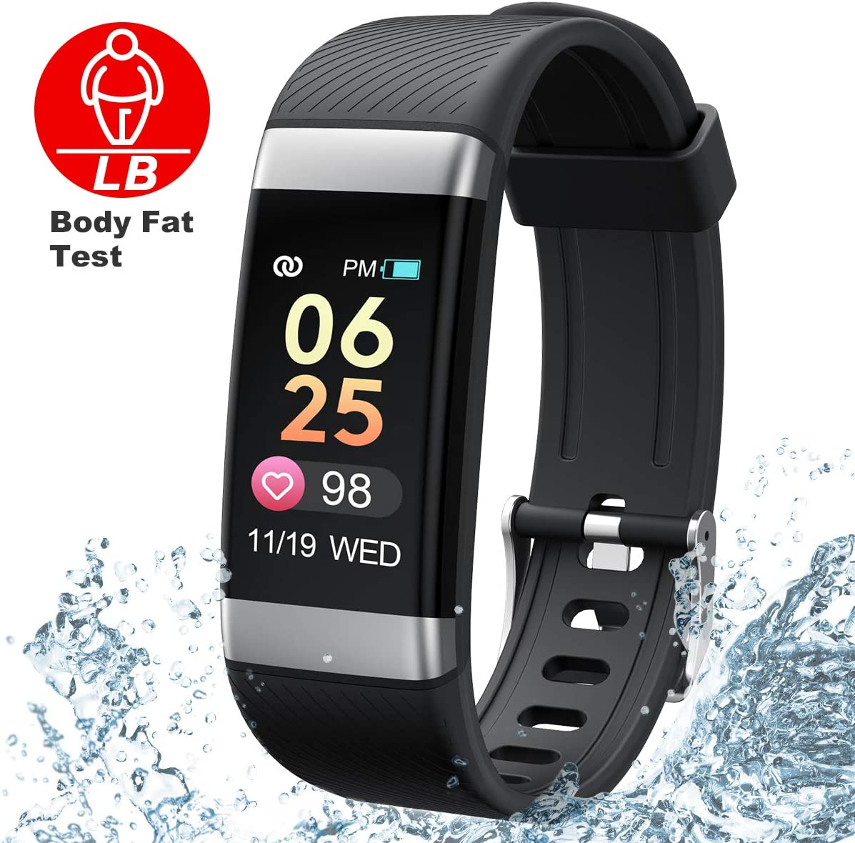 Dido Fitness Tracker HR,Activity Tracker with Smart Body Fat Bracelet Montiors, Slim Heart Rate Blood Pressure and Sleep Montiors with Call SMS Remind for Android iOS.