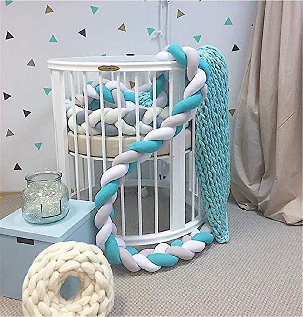 MAICHIHUOY 220cm Bettumrandung Baby Krippe Sto/ßstange Krippe Baby Nestchenschlange 4 Weben Bettumrandung f/ür Babybett Kinderbett Bettausstattung Blau+Blau+Wei/ß+Wei/ß