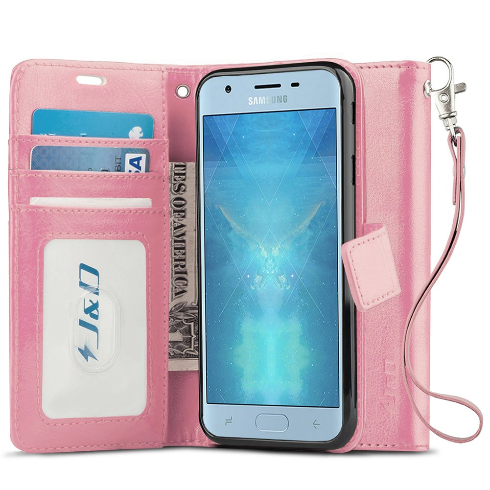 J&D Galaxy J3 2018 Case, J3 V 3rd Gen / J3 Achieve / J3 Star / Amp Prime 3 Case, [Wallet Stand] [Slim Fit] Heavy Duty Protective Shock Resistant Flip Cover Wallet Case for Samsung Galaxy J3 2018