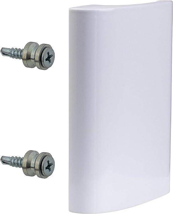 gedotec Tirador de puerta para balcón exterior zieh Mango Blanco de aluminio para puerta – Modelo de de Luxe | Longitud 82 mm | 1 pieza con tornillos: Amazon.es: Bricolaje y herramientas