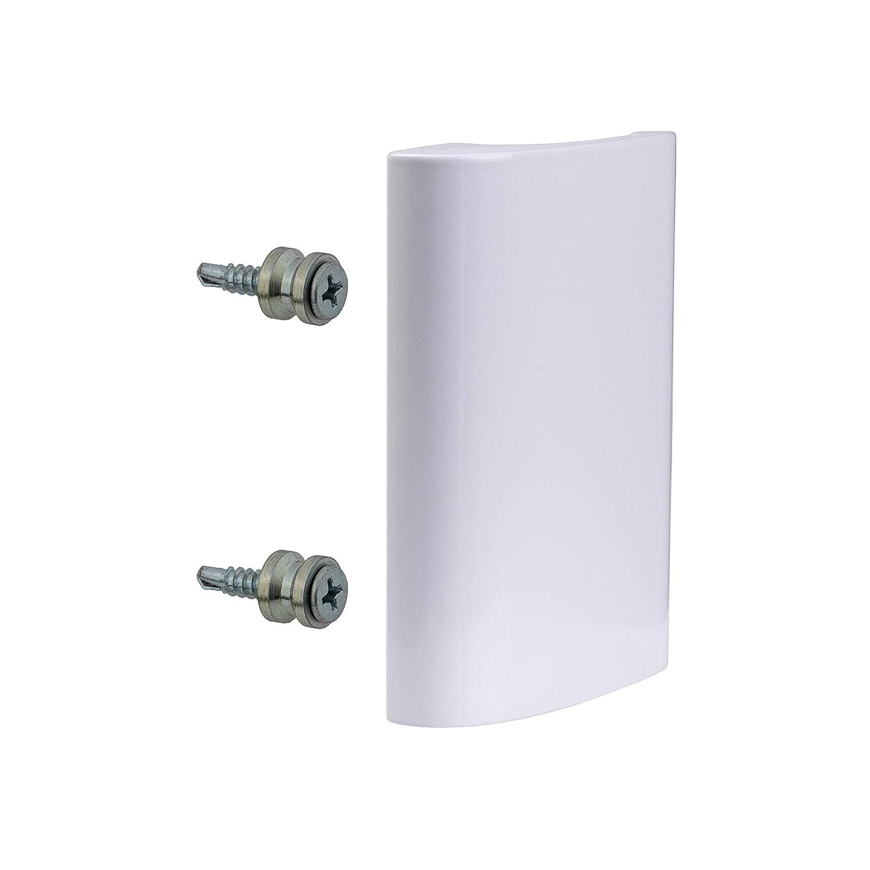 gedotec Tirador de puerta para balcó n exterior zieh Mango Blanco de aluminio para puerta –  Modelo de de Luxe | Longitud 82 mm | 1 pieza con tornillos