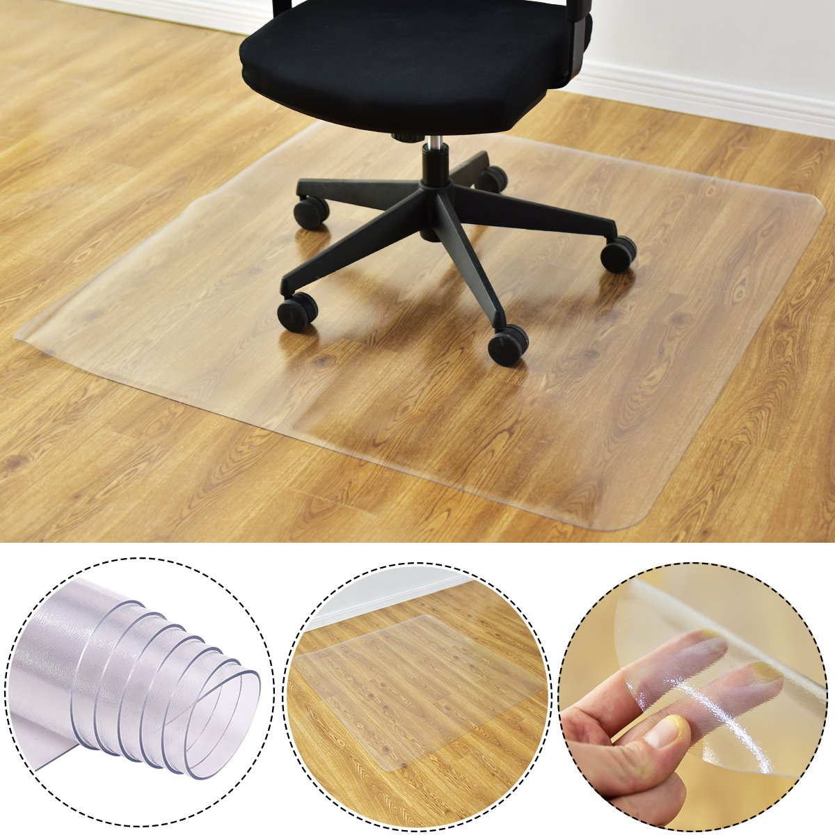 Costway 120x120cm Chair Floor Mat Protector Frosted Carpet Office PVC Plastic Non Slip