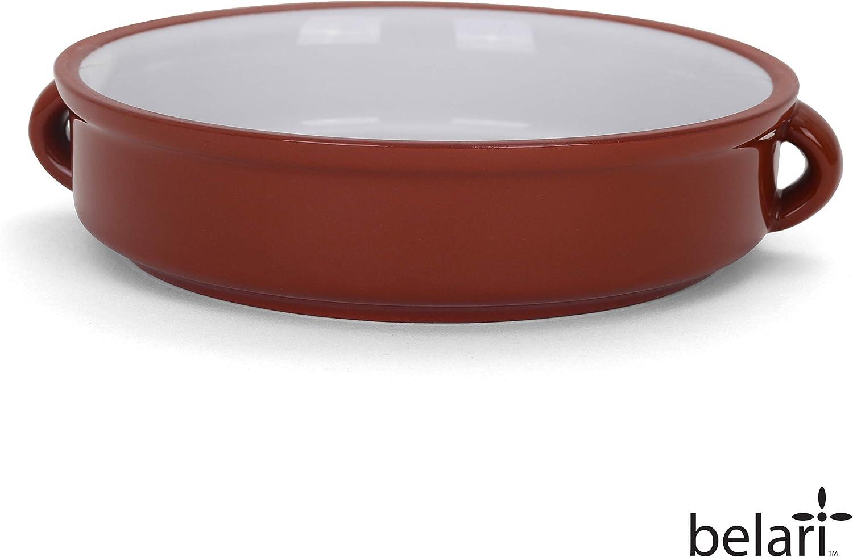 """Belari 6"""" Terracotta Cazuelas - Rustic Cazuela Clay Pan - Terra Cotta Cazuela Dish - Mexican Cazuela Dishware/Cookware - Vintage Cooking Pot (6"""" - 4 Pack)"""