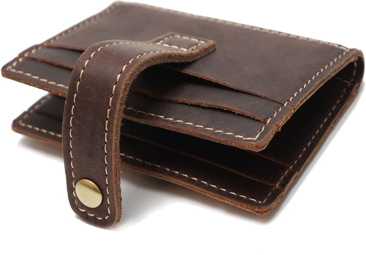 HAOXIONG-ZHANG Hardheaded Short-Sleeved Card Package Wave Softheaded Horse Leather Multi-Card Card Package Man and Women Mens Bag Color : Brown, Size : S