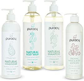 Puracy Organic Hair Care & Skin Care Gift Set, Natural Body Wash, Shampoo, Conditioner, Lotion, Sulfate-Free, Developed by Doctors, (Pack of 4)