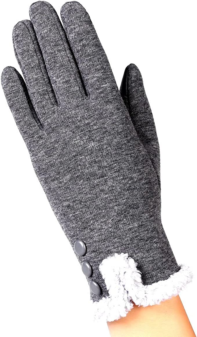 New Women Men Spring Winter Warm Fleece Lined Thermal Knitted Gloves Touchscreen