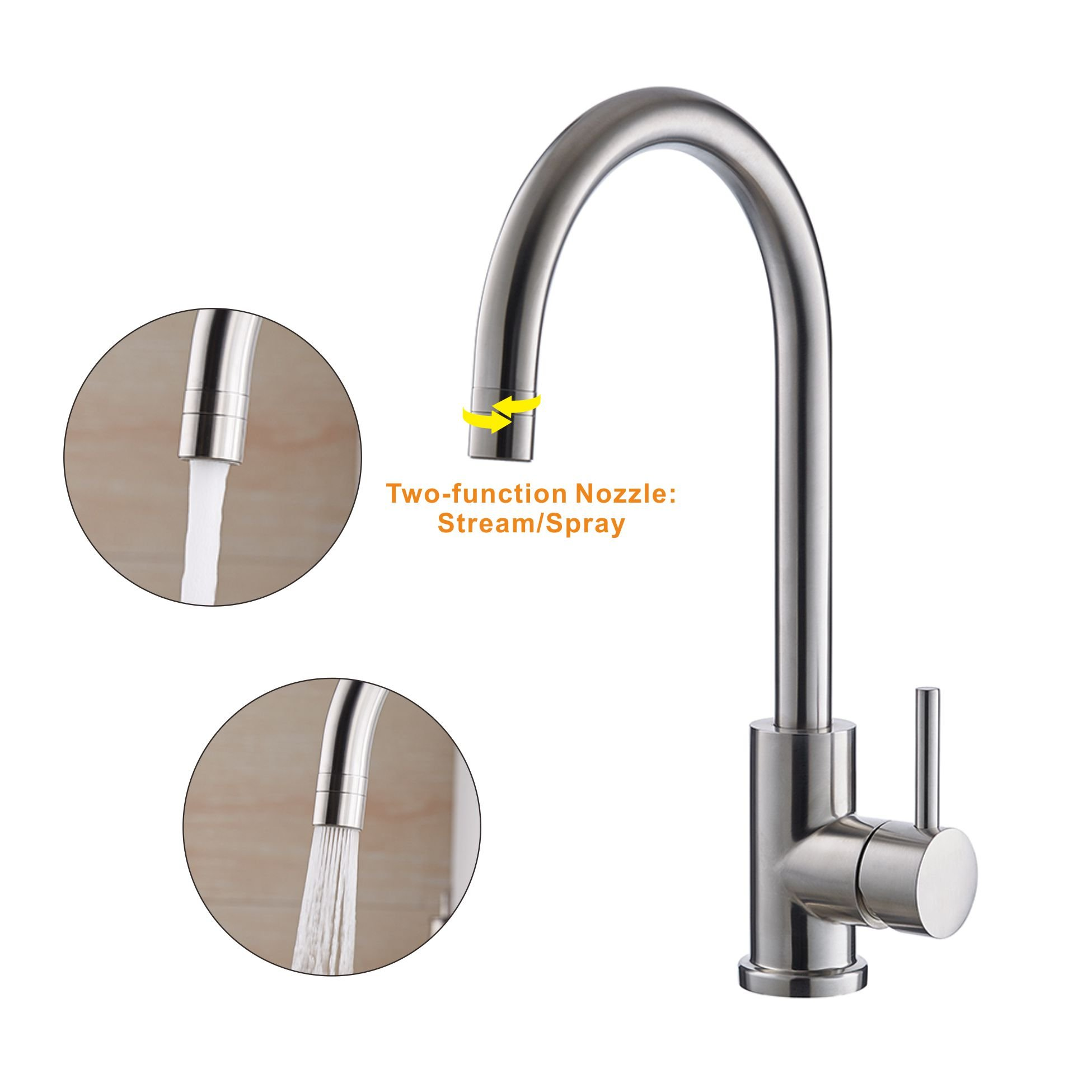 Trywell T304 Solid Stainless Steel Kitchen Sink Faucet, High Arc Single Lever Bar Faucet with Two-function Nozzle,1.8 Gpm by Trywell (Image #4)