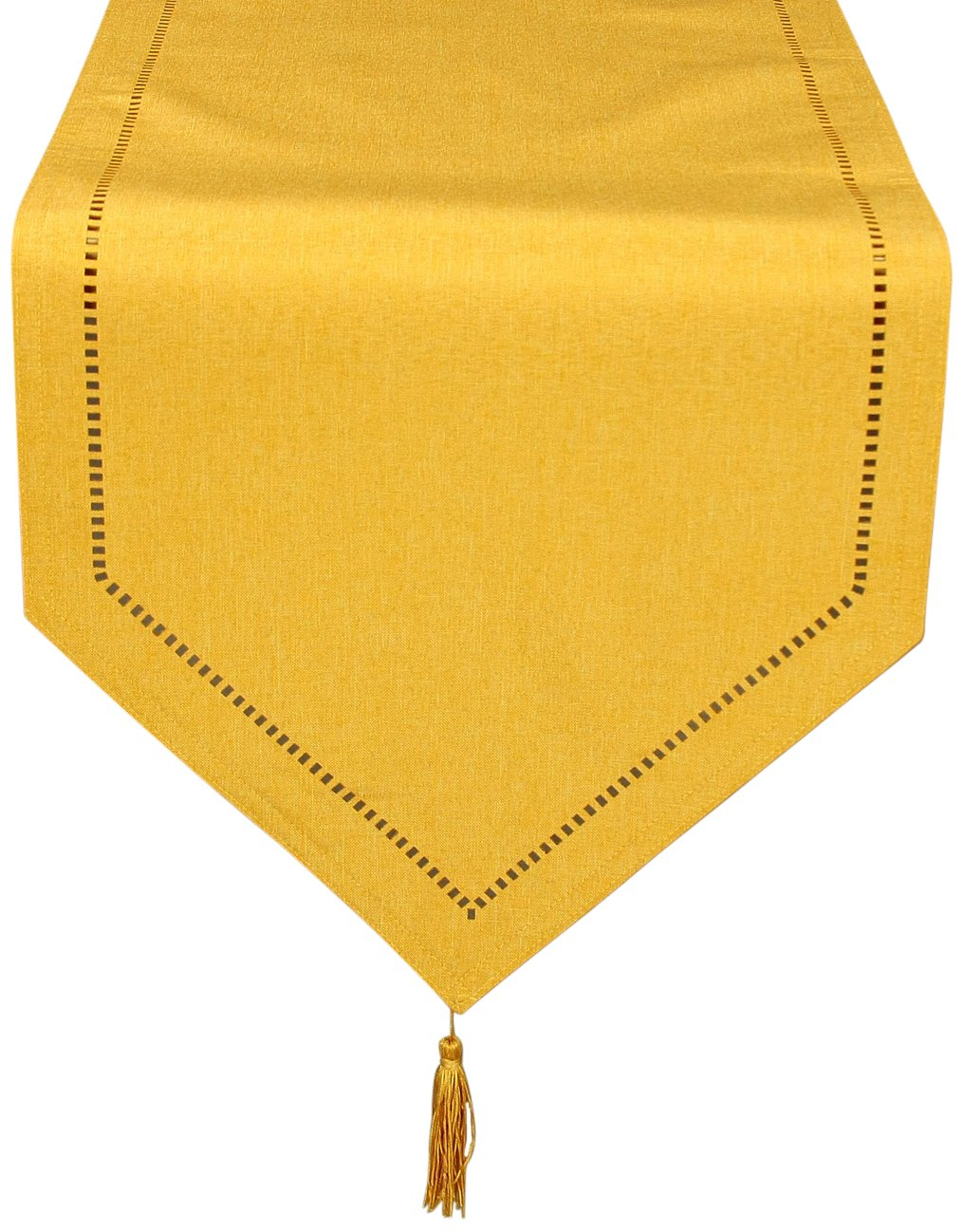 Xia Home Fashions Melrose Easy Care Cutwork Hemstitch 16-Inch by 72-Inch Table Runner, Gold