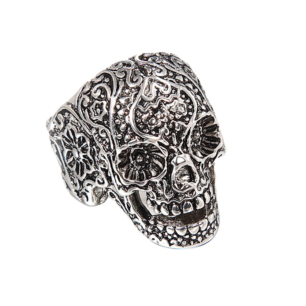 Skull Head Ring Ornament Collocation of Fashion Hand Decoration Gift Ring Under 5 Dollars Valentine's Day Gifts for Girlfriend Boyfriend (US Size)