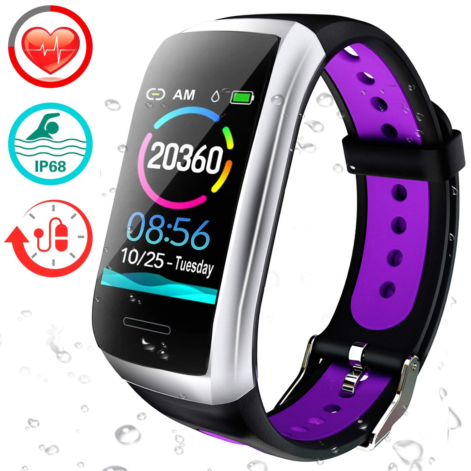 feifuns Fitness Tracker, 1.14 Color Screen Activity Health Tracker IP68 Waterproof Smart Watch with Heart Rate Blood Pressure Calories Pedometer Sleep Monitor Call SMS Remind for Women Men