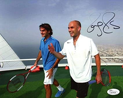 9b123f582 ROGER FEDERER HAND SIGNED 8x10 PHOTO AWESOME POSE WITH ANDRE AGASSI ...
