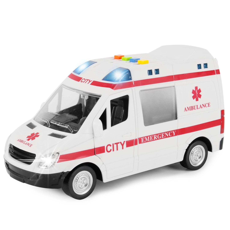 Liberty Imports Large Friction Powered Rescue Ambulance 1:16 Toy Emergency Vehicle w/ Lights and Sounds