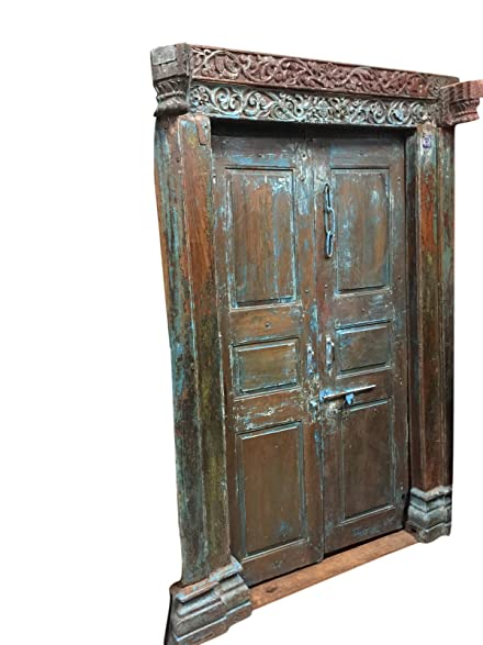 Mogulinterior Antique Jaipur OM Carved Doors Blue Patina Teak Doors & Frame - Amazon.com: Mogulinterior Antique Jaipur OM Carved Doors Blue Patina