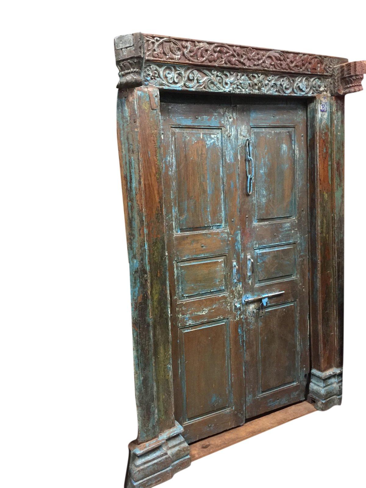Mogulinterior Antique Jaipur OM Carved Doors Blue Patina Teak Doors & Frame by Mogul Interior