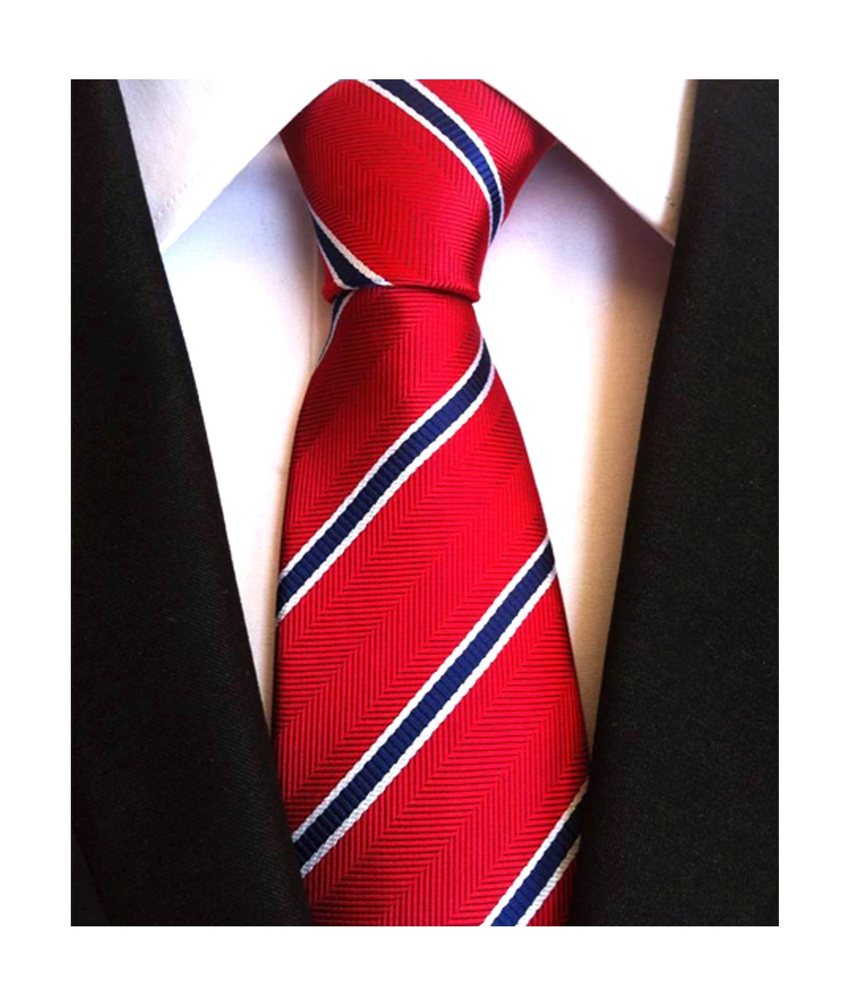 Mens Boy Red Blue Repp Stripe Jacquard Woven Silk Tie College Graduation Necktie