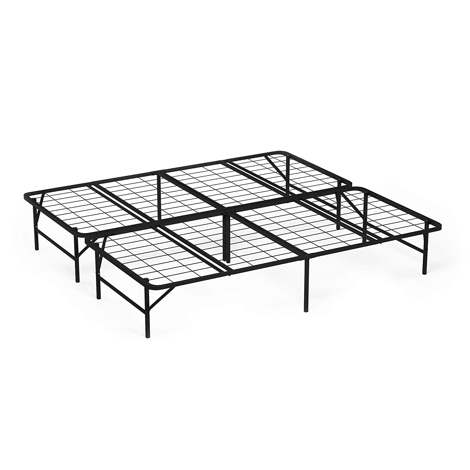 Furinno FB009K Angeland Matress Foundation Platform Metal Bed Frame, King, Black