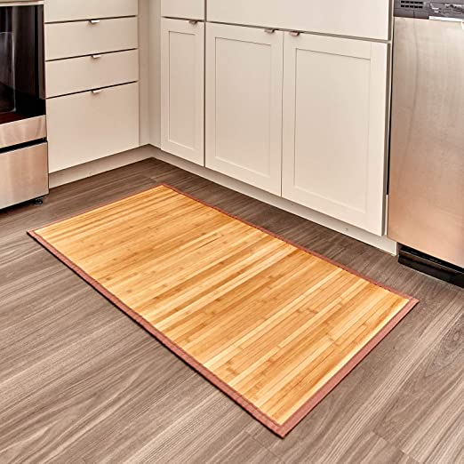 Amazon Com Idesign Formbu Bamboo Floor Mat Non Skid Water