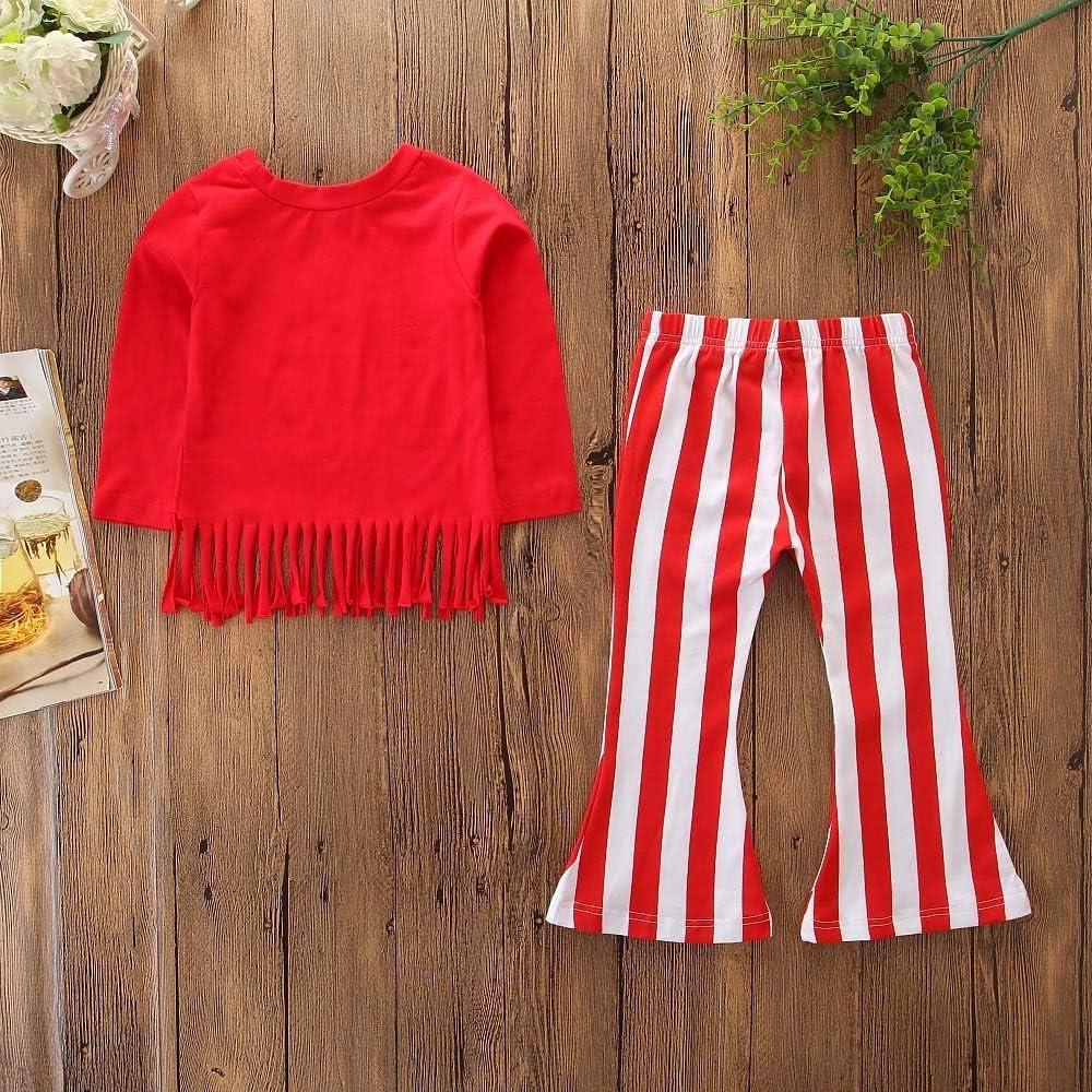 2 St/ück Kinder Baby M/ädchen Lange /Ärmel Quaste Tops Huhu833 Baby Kleidung Streifen Schlaghosen Hosen Outfits Sets