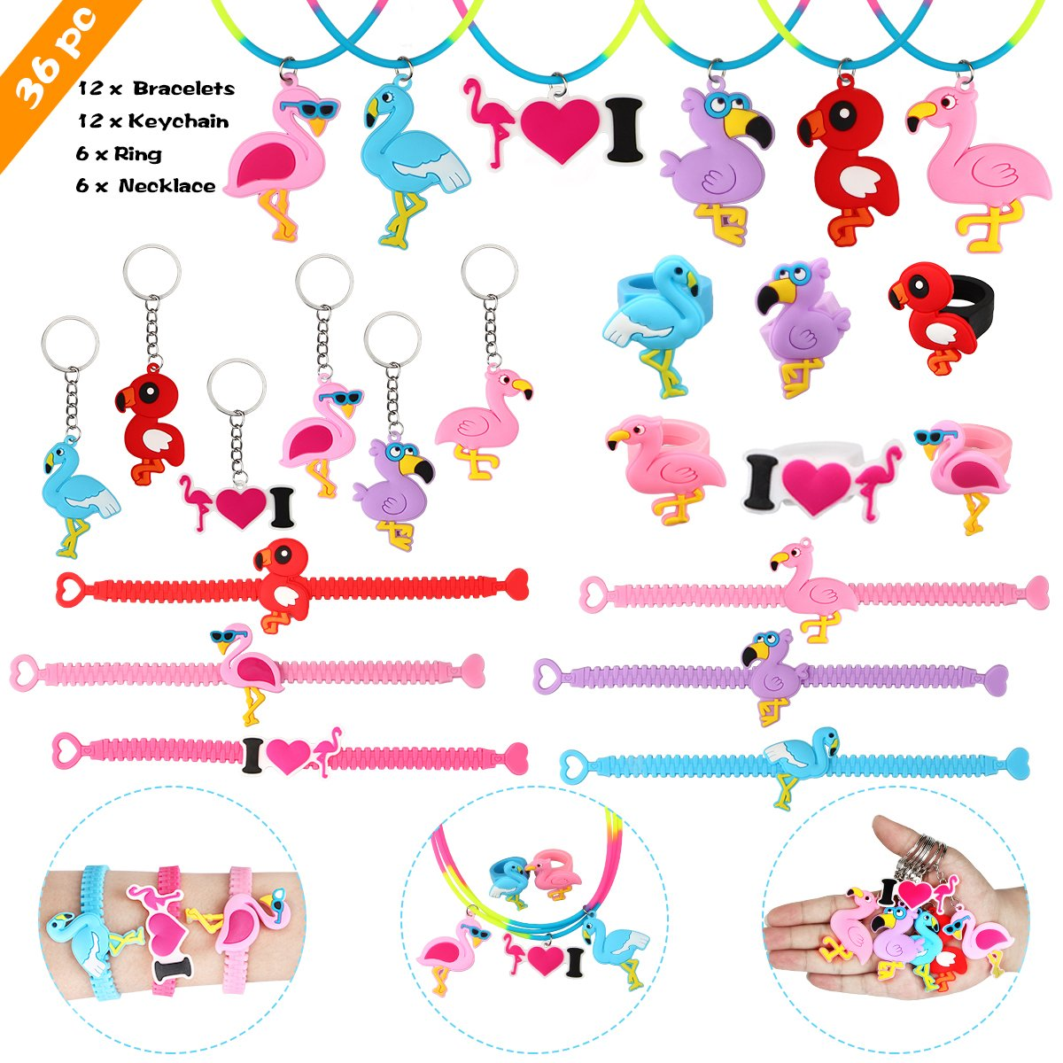 Aitey Flamingo Party Supplies, Flamingo Bracelets, Rings, Necklace and Keychains, Rainbow Flamingo Birthday Party Favors Set Prizes Gift for Kids and Girls (36 Packs)
