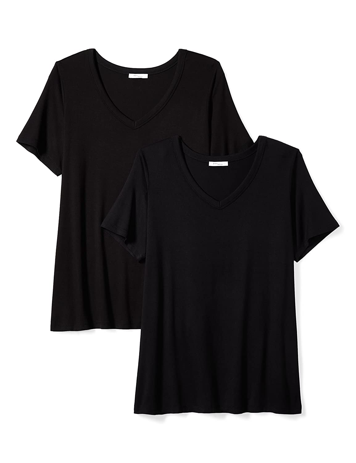Daily Ritual Womens Plus Size Jersey Short-Sleeve V-Neck T-Shirt, 2-Pack Black/Black 1X PIRD-17031323-W