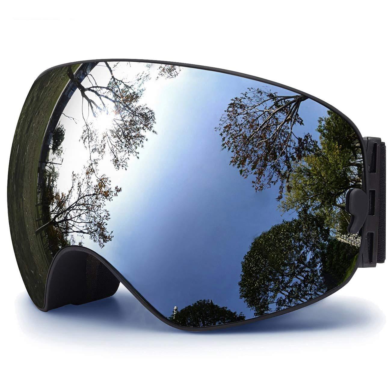 TUONROAD Occhiali da Sci, Occhiali da Sci,Goggles Maschera Occhiali antinebbia Protezione Occhiali da Sci UV400 Dotati di Doppia Lente, Anti-Nebbia, Anti-Vento, Grandangolare Sferica Silver