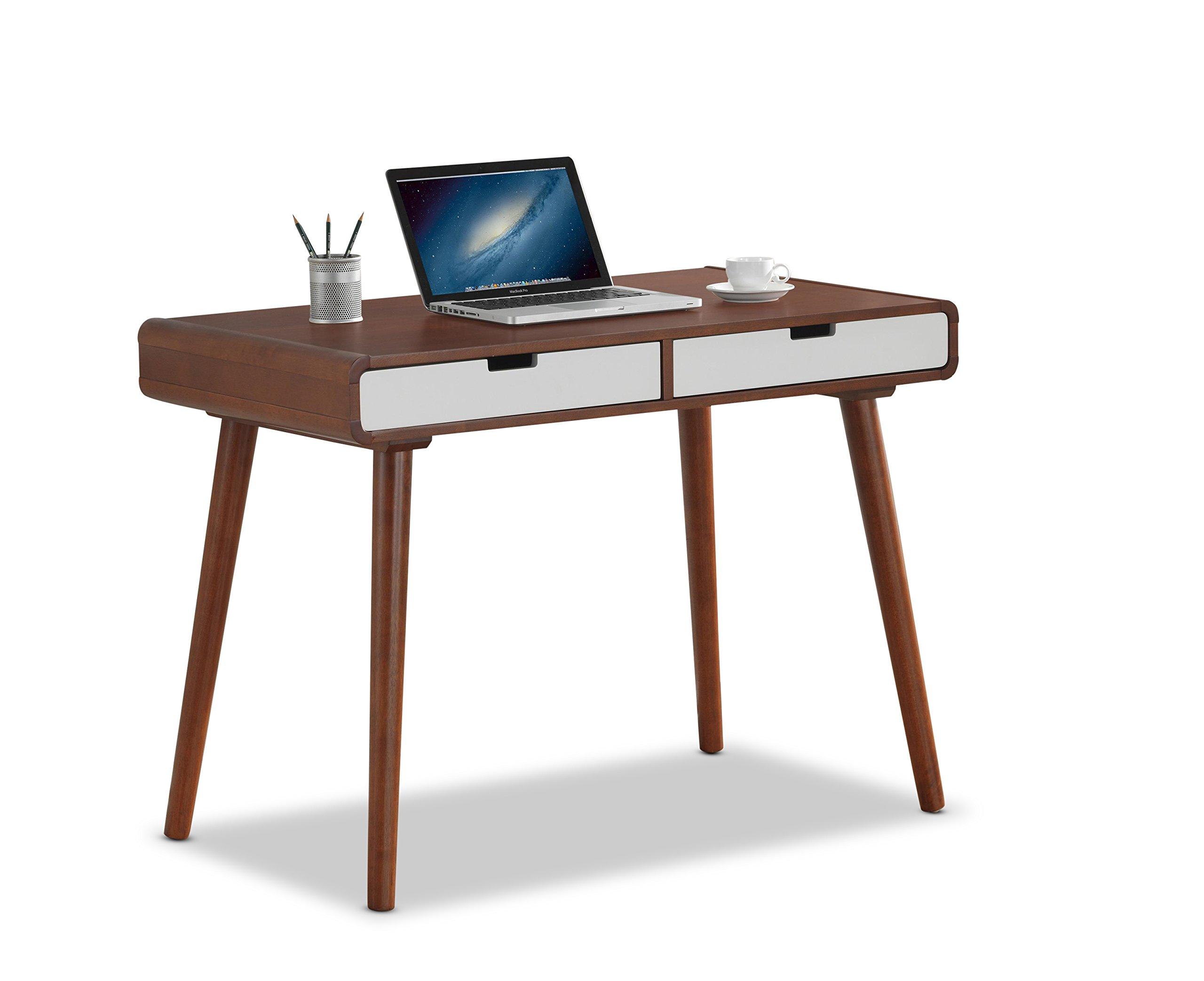 Baxton Furniture Studios Casarano Two-Tone Finish 2 Drawer Wood Home Office Writing Desk, Dark Walnut/White by Baxton Studio