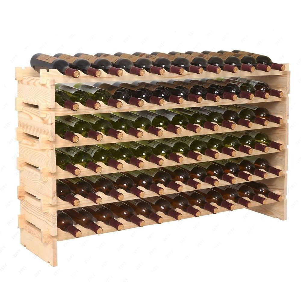 Super Deal Wood 72 Bottle Modular Wine Rack Stackable Storage 6 Tier Display Shelves Cellar Shelf (#1)