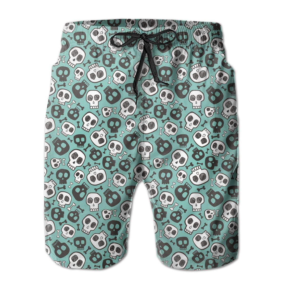 HFSST Green Halloween Skull Mens Swim Trunks Bathing Suit Shorts Board Beach