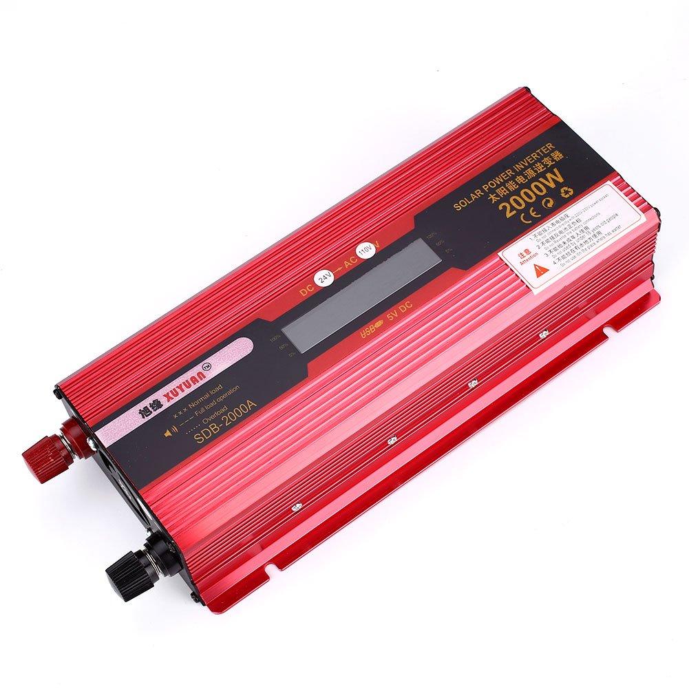 Bolange Inverter Solare da 2000 W con Display LCD, invertitore di Potenza a Onda sinusoidale Pura Dual Display da 2000 W (da 12V a 220 V / 2000 W)