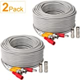 2Pack 50Feet BNC Vedio Power Cable Pre-Made Al-in-One Camera Video
