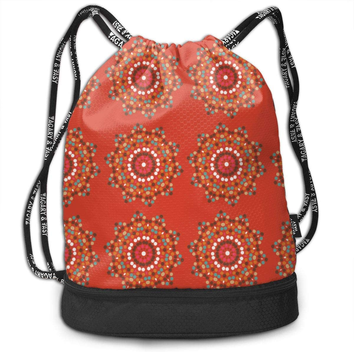 Mosaics On Tangerine Drawstring Backpack Sports Athletic Gym Cinch Sack String Storage Bags for Hiking Travel Beach