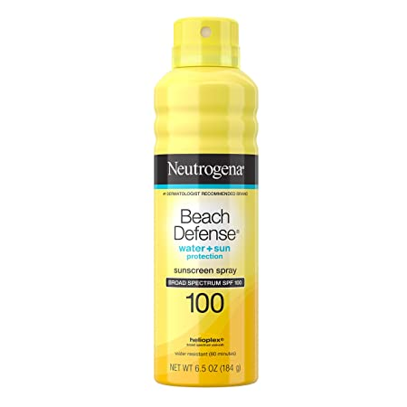 Neutrogena Beach Defense Spray Sunscreen with Broad Spectrum UVA/UVB SPF 100, Fast Absorbing Sunscreen Spray, Water-Resistant and Oil-Free Sun Protection, SPF 100, 6.5 oz