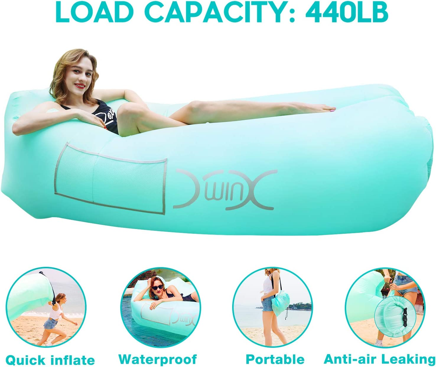 YXwin Inflatable Lounger Air Sofa New Orleans Mall Water 440lb Hammock latest Anti-Leak