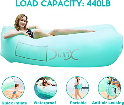 YXwin Inflatable Lounger Air Sofa Hammock, 440lb Anti-Leak Waterproof Portable Beach Chair Pouch Couch Bed with Inflatable Pillow for Pool Backyard ...