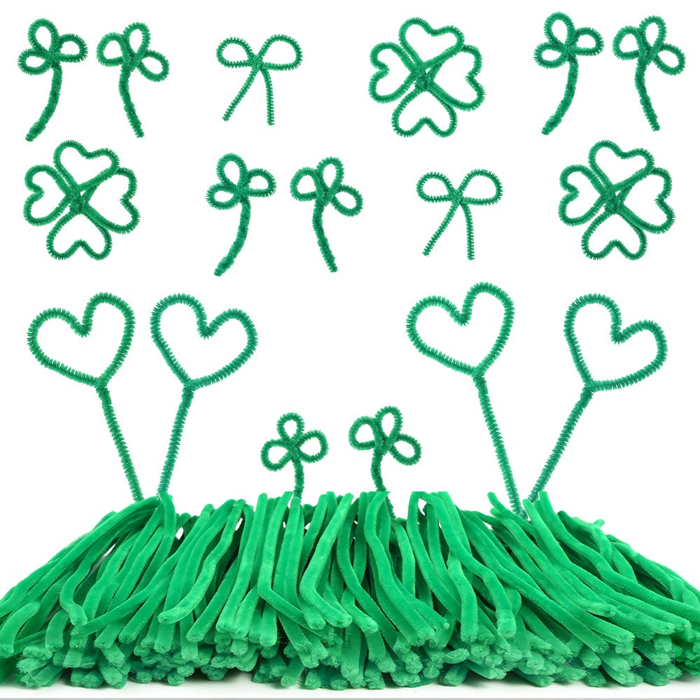 Patricks Day Green Pipe Cleaners Craft Art Creative Decorations Supplies 6 mm x 12 inch Caydo 200 Pieces St