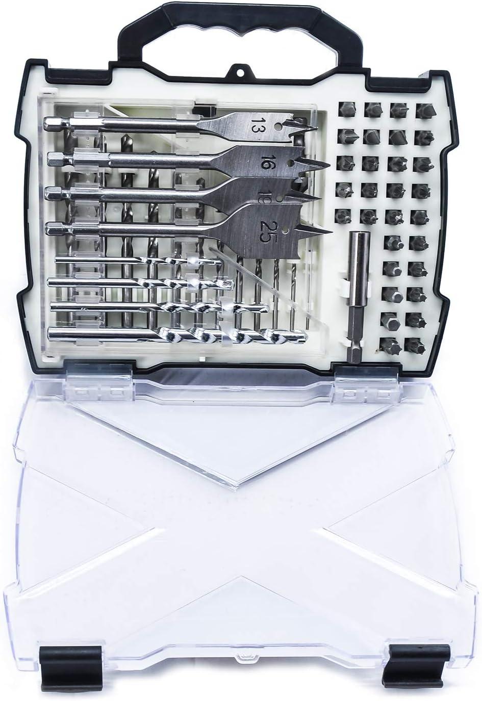 Powerland M01004 Ensemble de forets et tournevis 41pcs ensemble de forets combo dans une belle bo/îte en plastique