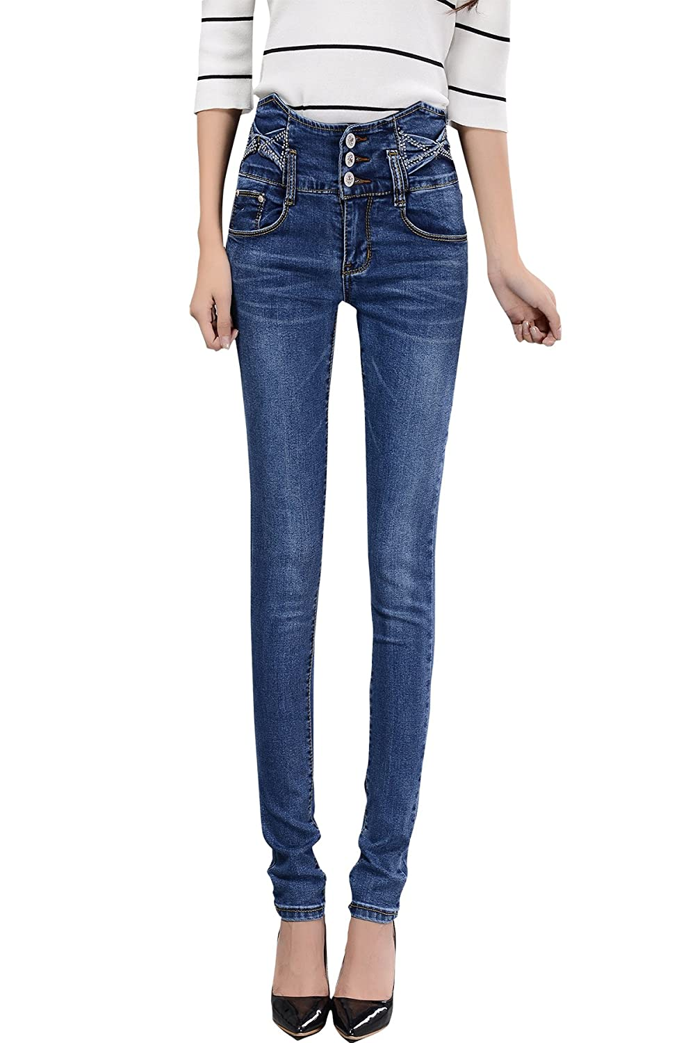 Egarden Women's Denim Jeans Stretch Stone Washed Slim Fit Tapered Legs