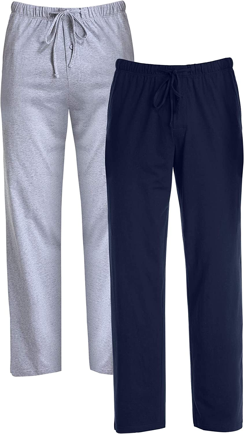 COLORFULLEAF 100% Cotton Pajama Pants for Men Soft Knit Sleep Bottoms with Pockets