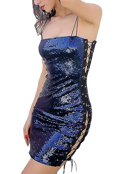 Vestidos Coctel Mujer Moda del Vendaje Brillo Lentejuelas Apretados Lápiz Niñas Ropa Vestidos Cortos Elegantes Sin