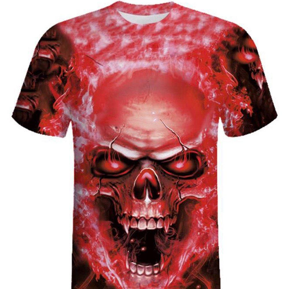 Camisa de Manga Corta de la Camiseta de la Manga de la Camiseta de la impresión del cráneo 3D para Hombre por Internet: Amazon.es: Ropa y accesorios