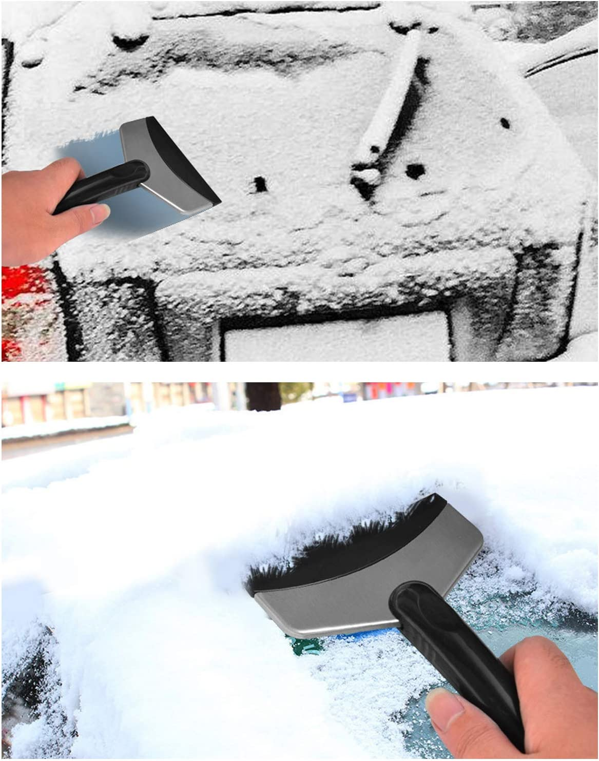 Car Snow Brush Ice Scraper with Integrated Detachable Ice Scraper 26 Inch Snow Remover 2 in 1 Dual Head with Squeegee Windshield Snow Shovel Removal Clean Tools Orange