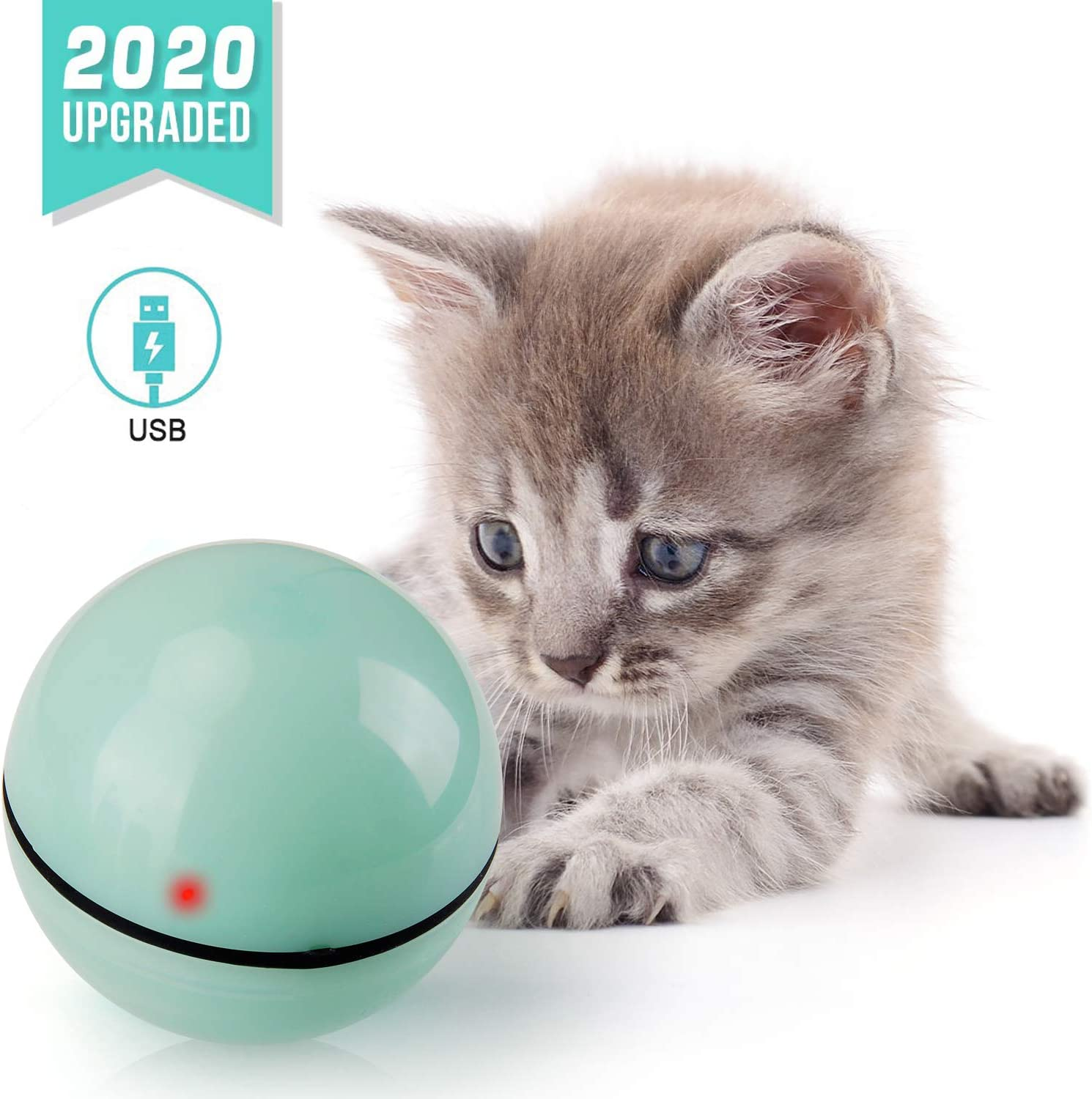 360 Degree USB Rechargeable Motion Red LED Light for Cat//Kitty//Kitten//Pets Exercise Chase Play Cat Toy Balls Cat Toys for Indoor Cats Interactive Cat Toy Ball Pet Toys