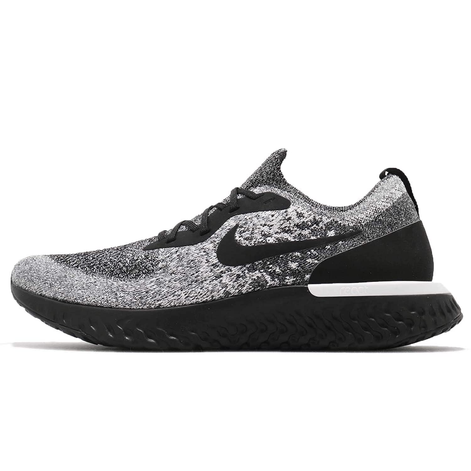 hot sale online 1d06f 3d3be Nike Mens Epic React Flyknit Running Shoes Black/Black/White 12