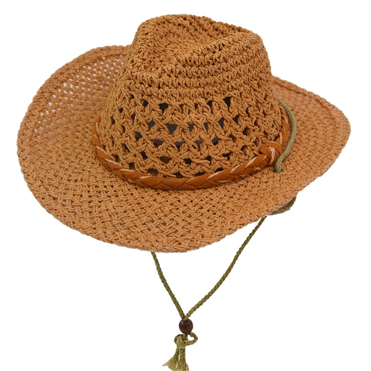 fd4cfb51a0b208 Amazon.com: Yosang Kids Western Straw Hat Outdoor Summer Sun Hat Breathable  Traveling Cowboy Cowgirl Hat Brown: Clothing
