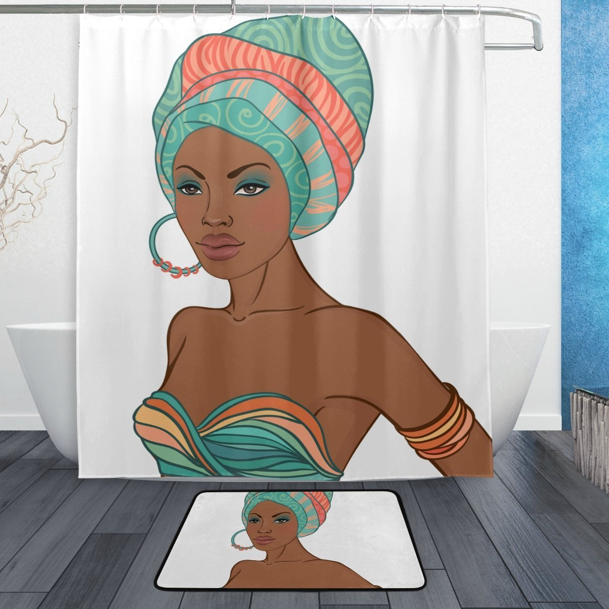 BAIHUISHOP African Women 3-Piece Bathroom Set, Machine Washable for Everyday Use,Includes 60x72 Inch Waterproof Shower Curtain, 12 Shower Hooks and 1 Non-slip Bathroom Rug Carpet - Set of 3 by baihuishop